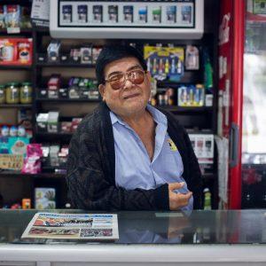 """Julio Arakaki, 2nd generation, owner of the local shop called """"Arakaki"""" for fifty years, Miraflores district, Lima, 2017. / Julio Arakaki, 2ème génération, propriétaire de l'épicerie « Arakaki » depuis cinquante ans, Lima, 2017."""