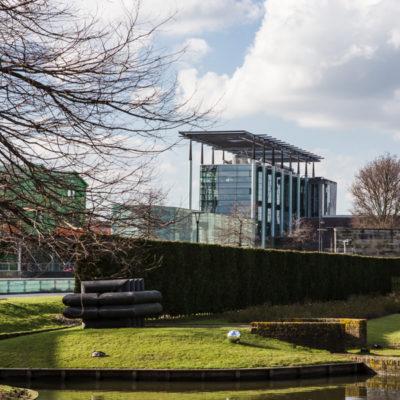 Het Nieuwe Instituut from the Museum Boijmans Van Beuningen's garden, Rotterdam, Netherlands